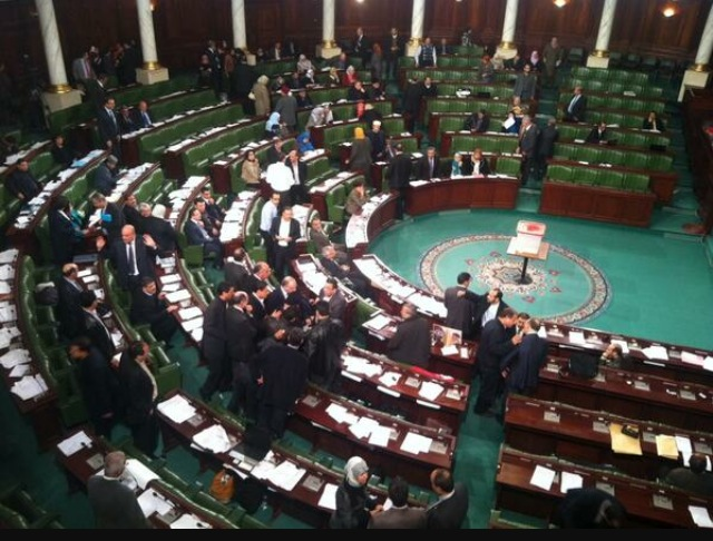Al Bawsala tweets picture of Tunisia's National Constituent Assembly deliberating provisions on the draft constitution a week before the three year anniversary of the Arab Spring