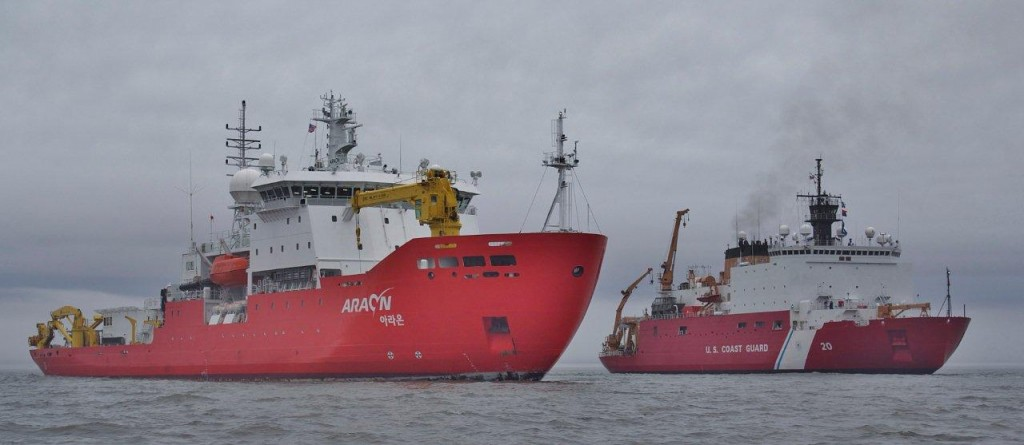 R/V Araon and USCGC Healy off Alaska in August 2013.