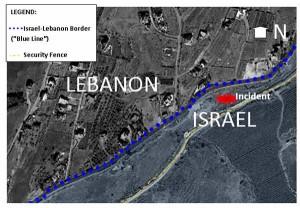 Aerial view of the Israel/Lebanon border/IDF