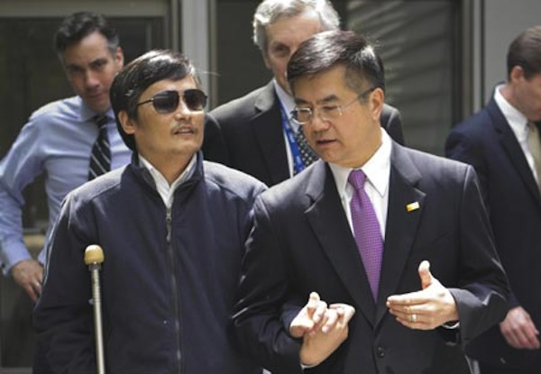 Chinese activist Chen Guangcheng with the U.S. Ambassador to China, Gary Locke. Source: Google Images