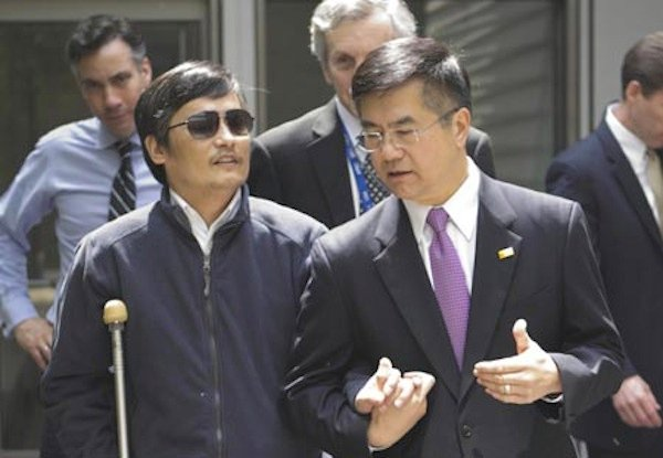 Chinese activist Chen Guangcheng with the U.S. Ambassador to China, Gary Locke. Source: Google Images