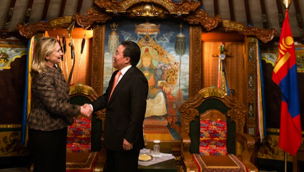 Secretary of State Hillary Clinton and Mongolian President Elbegdorj Tsakhia in Ulan Bator, Mongolia on July 9, 2012. Photo Credit: Getty