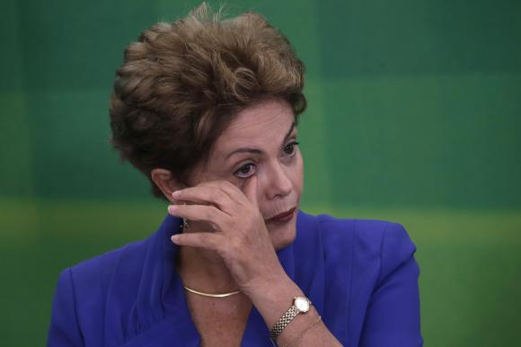 Brazil's President Dilma Rousseff reacts during a launching ceremony for the Anti-Corruption Package at the Planalto Palace in Brasilia March 18, 2015 (CREDIT: REUTERS/UESLEI MARCELINO).