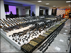 Display of illegal weapons seized from Mexico-based drug cartels.