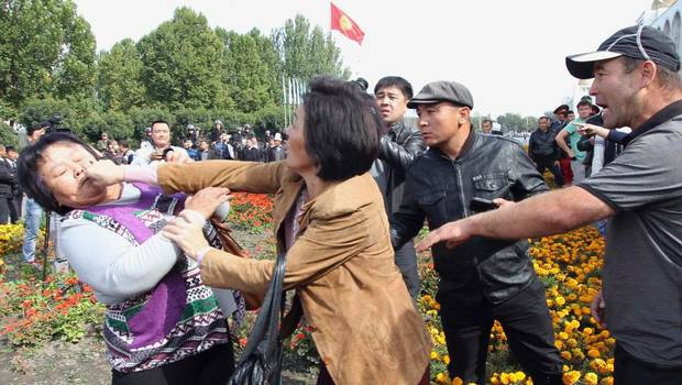 During a protest in Bishkek, Kyrgyzstan, calling for mine nationalization in October 2012 (Reuters: Vladimir Pirogov)