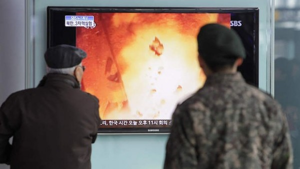 South Koreans watch state coverage of North Korea's third nuclear test. Photo: Getty
