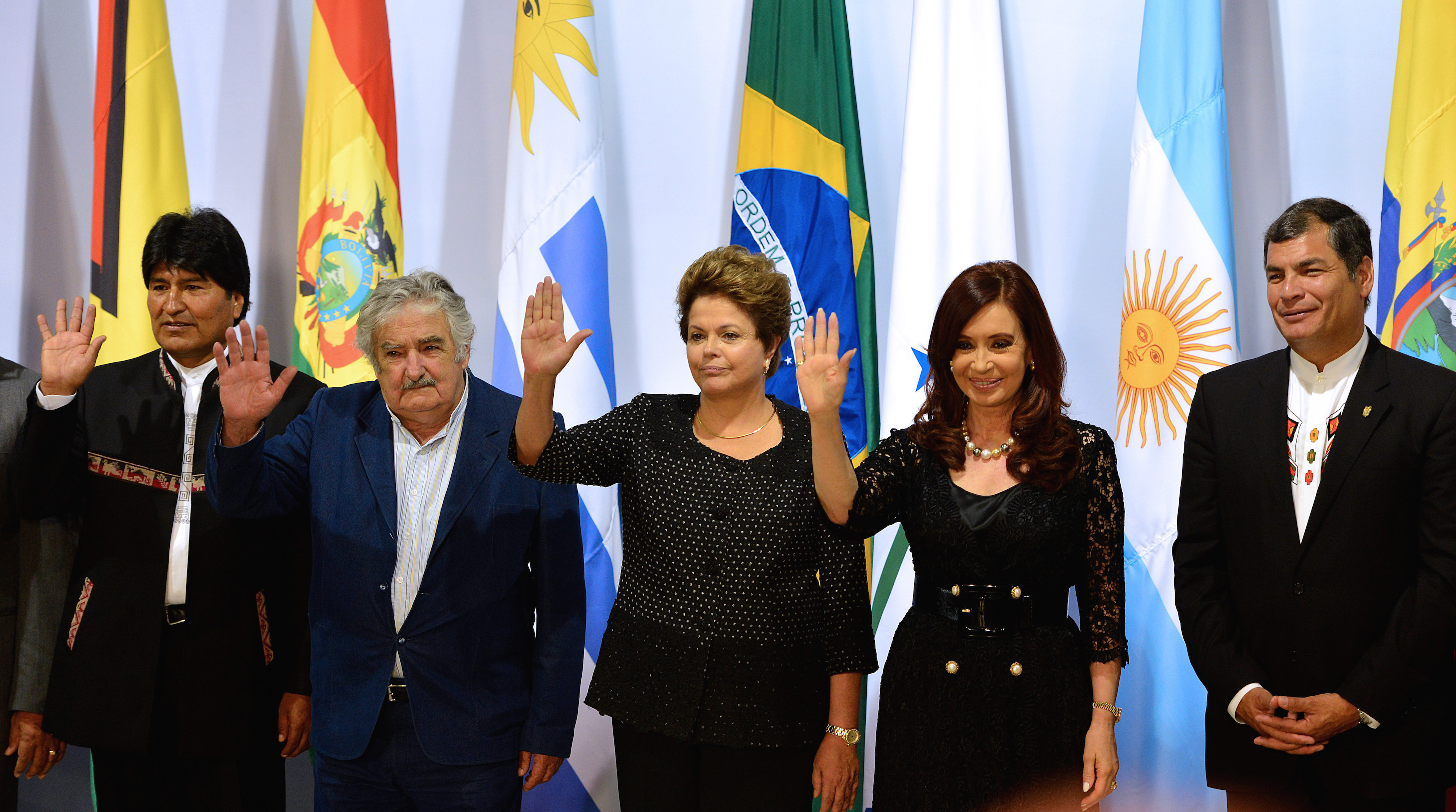 (L to R) Presidents from Bolivia, Evo Morales, Uruguay, Jose Mujica, Brazil, Dilma Rousseff, Argentinian Cristina Fernandez de Kirchner and Ecuador, Rafael Correa, pose for the official picture of the Summit of Heads of State of Mercosur and Associated States, at Itamaraty Palace, BrasÌlia on December 7, 2012. AFP PHOTO/Pedro LADEIRA        (Photo credit should read PEDRO LADEIRA/AFP/Getty Images)