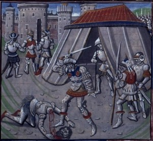 "The execution of Christian knight ""Reynald Kalk"" by Saladin"