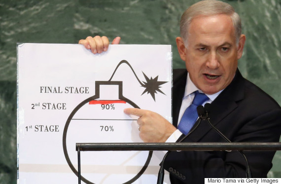 NEW YORK, NY - SEPTEMBER 27: Benjamin Netanyahu, Prime Minister of Israel, points to a red line he drew on a graphic of a bomb while addressing the United Nations General Assembly on September 27, 2012 in New York City. The 67th annual event gathers more than 100 heads of state and government for high level meetings on nuclear safety, regional conflicts, health and nutrition and environment issues. (Photo by Mario Tama/Getty Images)