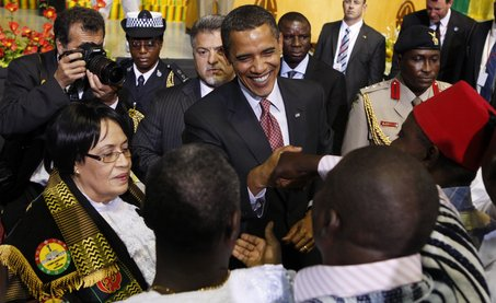 President Barack Obama following his address to the Ghanaian Parliament in Ghana, July 2009. (AP Photo/Charles Dharapak)