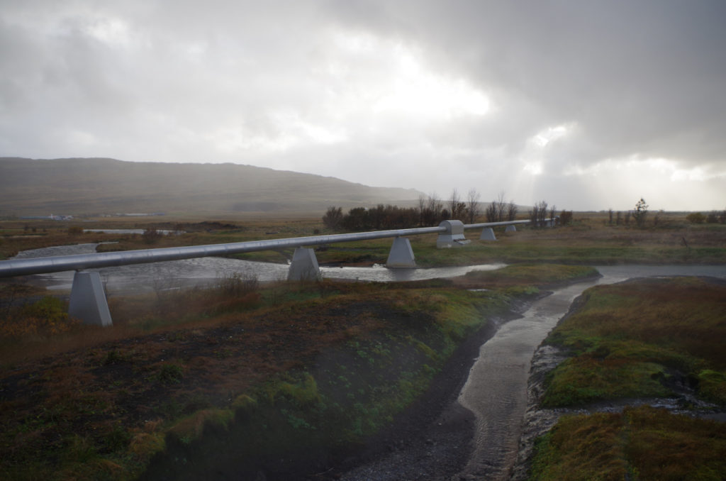 World's longest geothermal pipeline, in western Iceland. (c) Mia Bennett