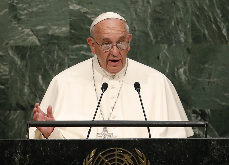 Pope Francis addresses a plenary meeting of the United Nations Sustainable Development Summit 2015 at United Nations headquarters in Manhattan, New York, on September 25, 2015. Photo courtesy of REUTERS/Mike Segar *Editors: This photo may only be republished with RNS-POPE-UN, originally transmitted on Sept. 25, 2015.
