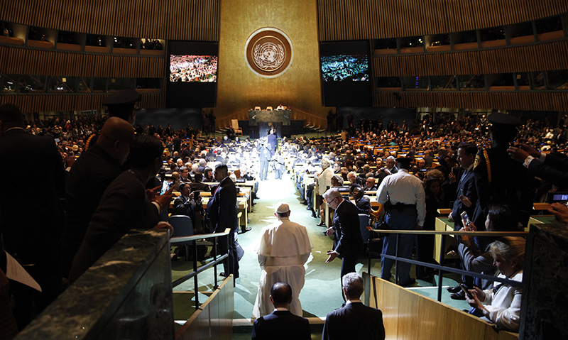 Pope Francis arrives for a plenary meeting of the United Nations Sustainable Development Summit 2015 at United Nations headquarters in Manhattan, New York, on September 25, 2015. More than 150 world leaders are expected to attend the U.N. Sustainable Development Summit from September 25-27 at the United Nations in New York to formally adopt an ambitious new sustainable development agenda a press statement by the U.N. stated. Photo courtesy of REUTERS/Mike Segar *Editors: This photo may only be republished with RNS-POPE-UN, originally transmitted on Sept. 25, 2015.