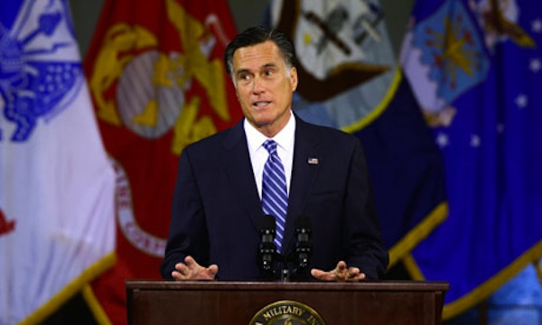 Mitt Romney delivers his foreign policy address. Source: AP