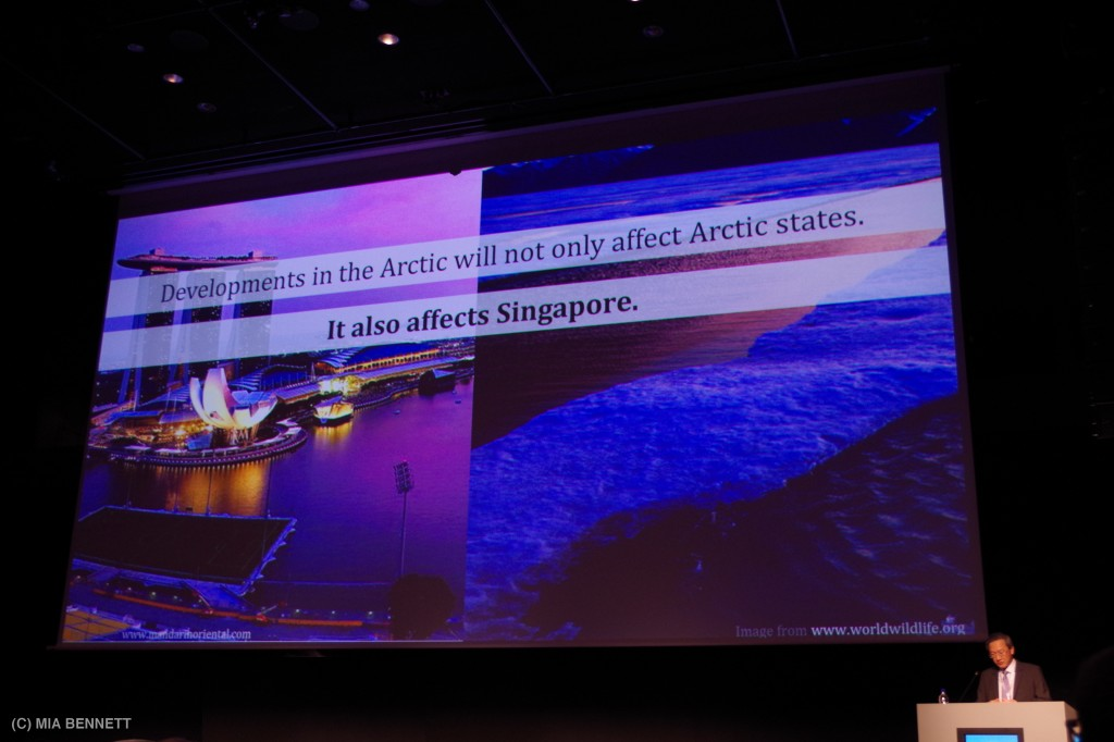 Mr. Sam Tan Chin Siong speaking at the Arctic Circle, October 12, 2013. (c) Mia Bennett