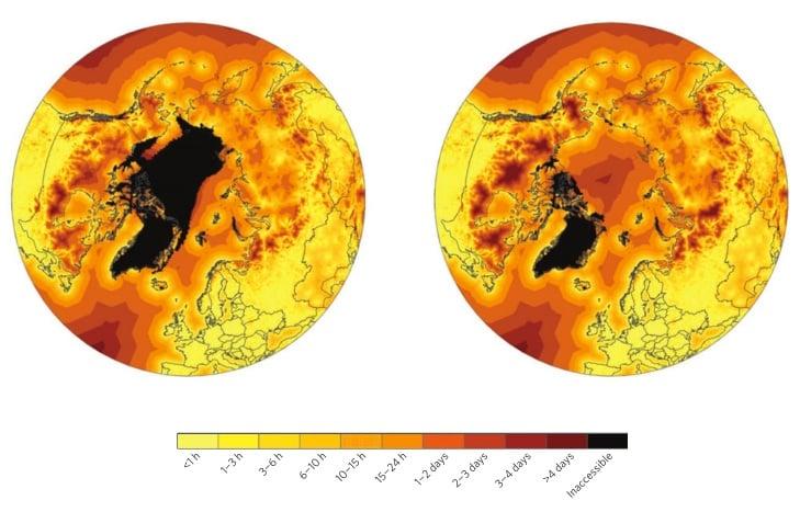 L: 2000-2014; R: 2045-2059. Darker colors represent longer travel time; notice more darker colors on land.