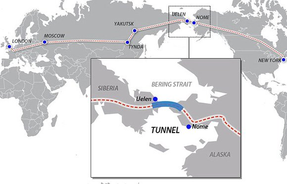 Russia Seeks to Build 64-Mile Tunnel Across the Bering Strait to Alaska