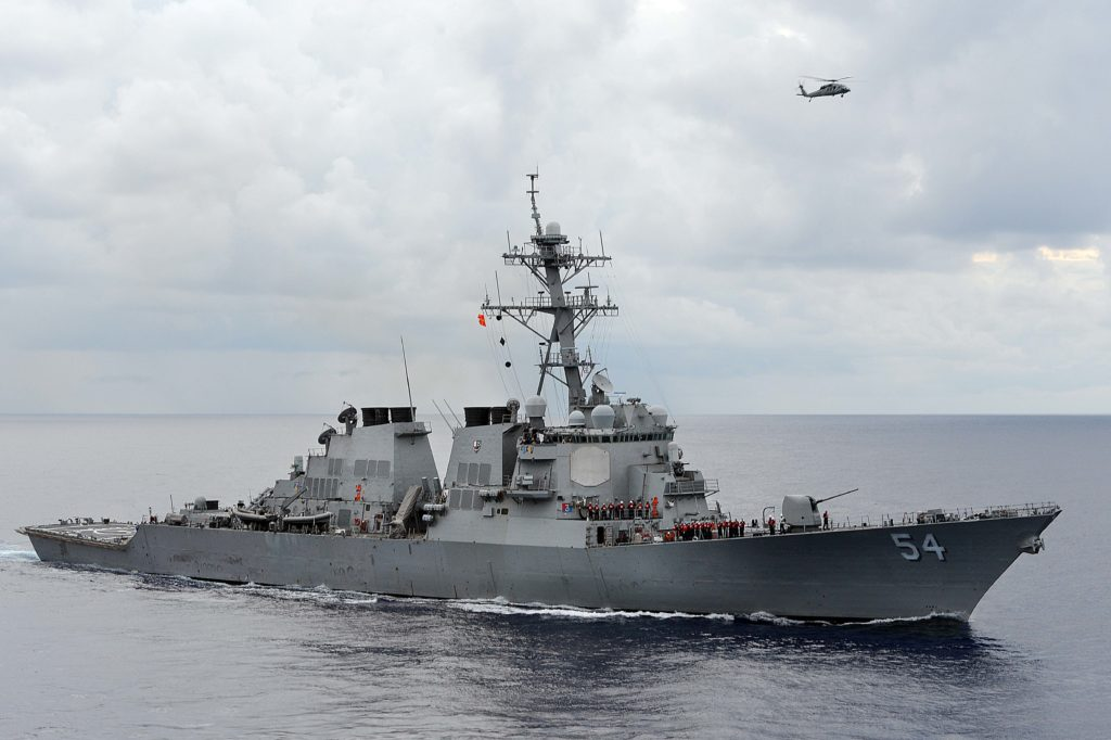 The U.S. Navy guided-missile destroyer USS Curtis Wilbur patrols in the Philippine Sea in this August 15, 2013 file photo. (REUTERS)