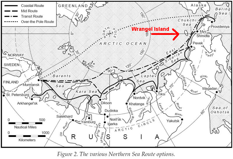 Wrangel Island with respect to the NSR.
